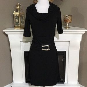 Joseph Ribkoff Black Cowl Neck Dress